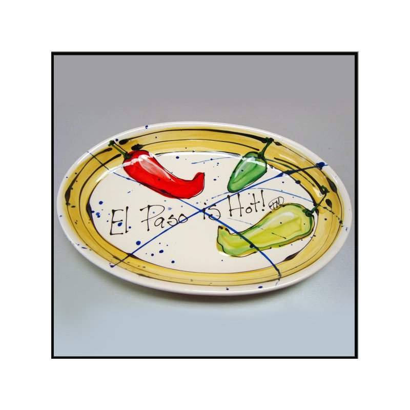"""El Paso Star and Gifts Heart Beat of El Paso """"El Paso is Hot!"""" Small Oval Server"""