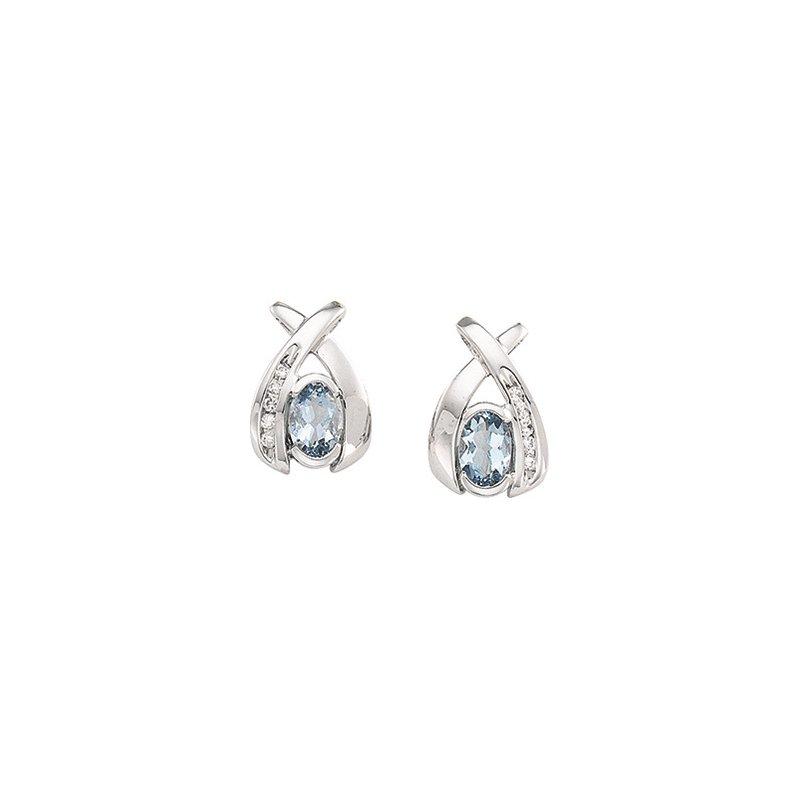 Holiday Ideas Genuine Aquamarine & Diamond Earrings