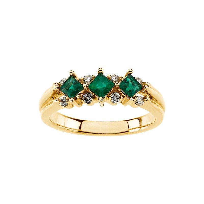 Susan Eisen Emerald & Diamond Band Ring