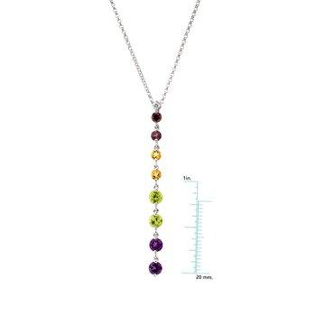 Genuine Pink Tourmaline, Citrine, Peridot, Amethyst & Diamond Necklace