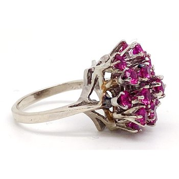 Lady's vintage synthetic ruby and white gold cocktail ring
