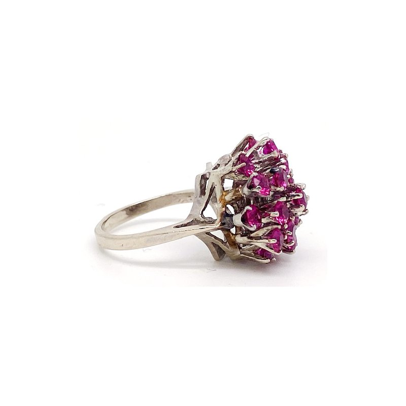 Estate & Vintage Lady's vintage synthetic ruby and white gold cocktail ring