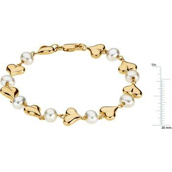 Freshwater Cultured Pearls & Hearts Bracelet