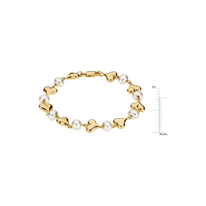 Ladies' Jewelry Freshwater Cultured Pearls & Hearts Bracelet