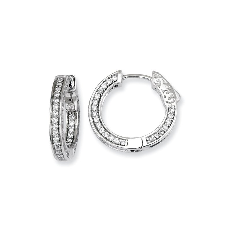 Susan Eisen Sterling Silver CZ Round Hoop Earrings