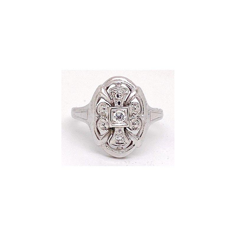 Estate & Vintage Lady's vintage Art Deco design white gold and diamond ring