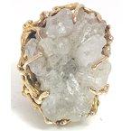 Estate & Vintage Lady's vintage quartz and yellow gold freeform ring