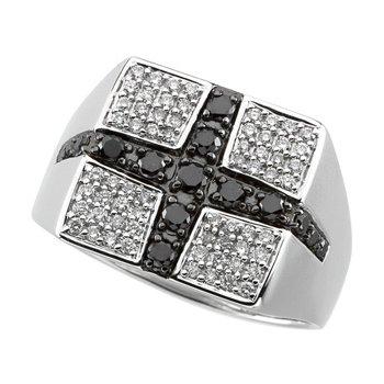 3/4 ct tw Gent's Black & White Diamond Ring