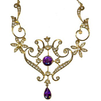 Vintage 18K Amethyst & Pearl Necklace