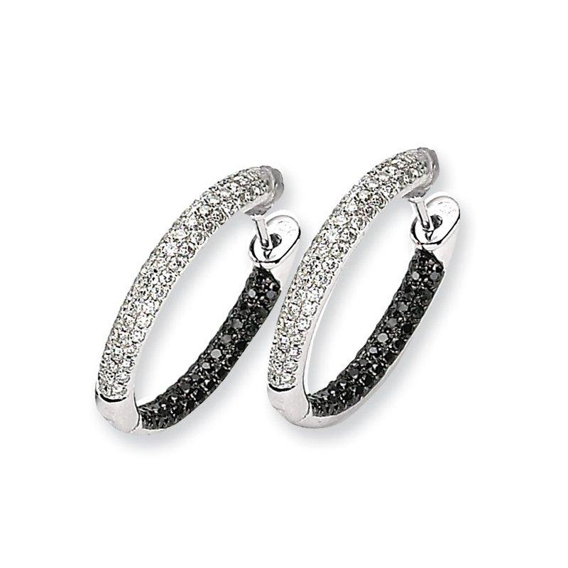 Susan Eisen 14k White Gold Black and White Diamond Hinged Hoop Earrings