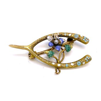 Lady's Art Nouveau design, yellow gold, enamel, and seed pearl brooch