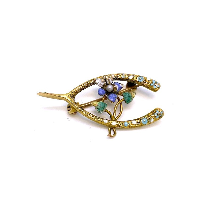 Estate & Vintage Lady's Art Nouveau design, yellow gold, enamel, and seed pearl brooch