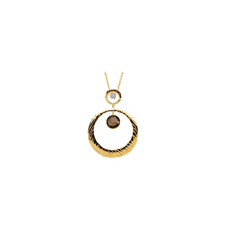 Ladies' Jewelry Genuine Checkerboard Smoky Quartz & Diamond Necklace