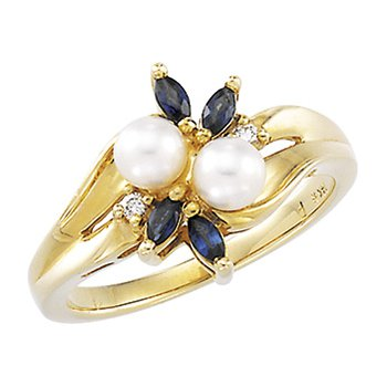 Akoya Cultured Pearl, Sapphire & Diamond Ring