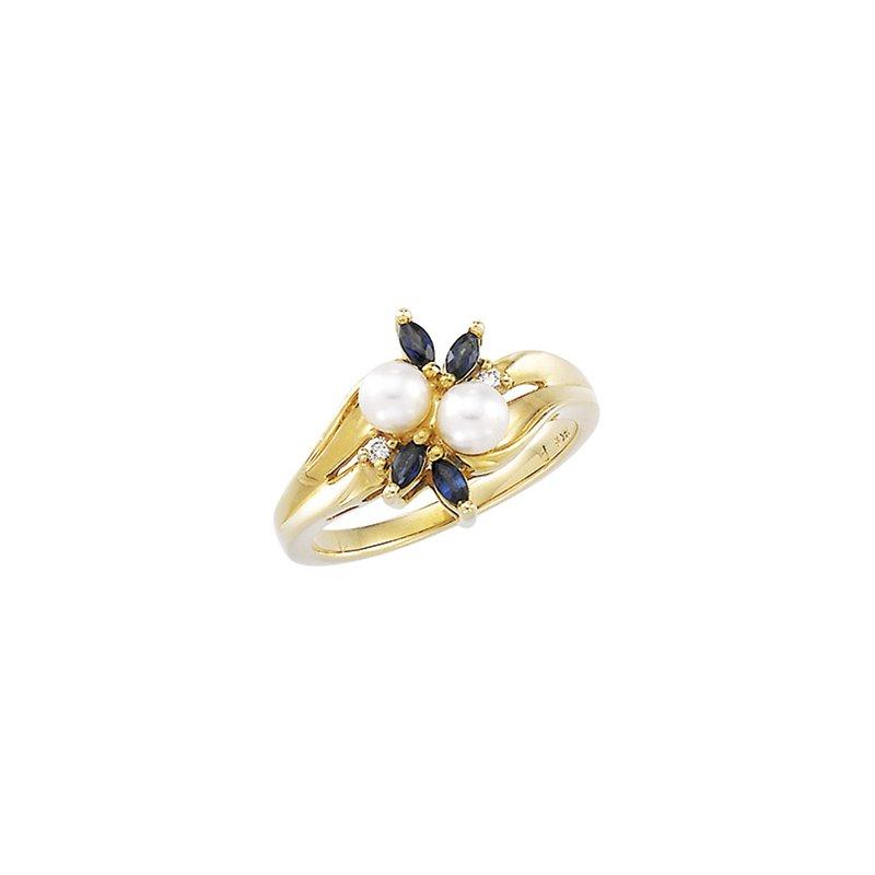 Ladies' Jewelry Akoya Cultured Pearl, Sapphire & Diamond Ring