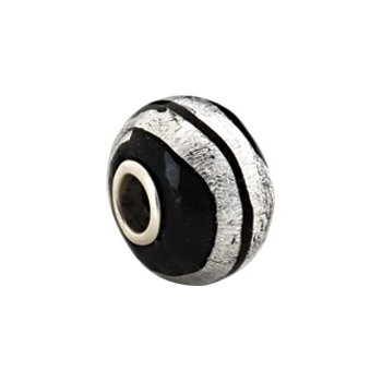 Kera Silver Stripe Murano Glass Bead