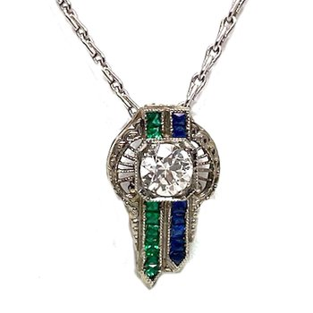 Lady's vintage Art Deco style sapphire, emerald, diamond and white gold pendant