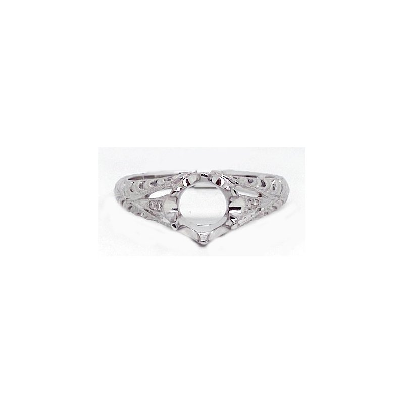 Vintage Bridal Diamond and White Gold, New, Vintage Style Mounting