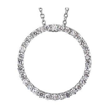Platinum Diamond Circle Necklace
