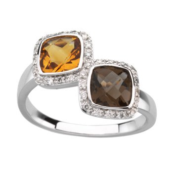Genuine Checkerboard Multi Gem-stone & Diamond Ring