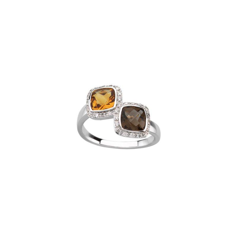 Ladies' Jewelry Genuine Checkerboard Multi Gem-stone & Diamond Ring