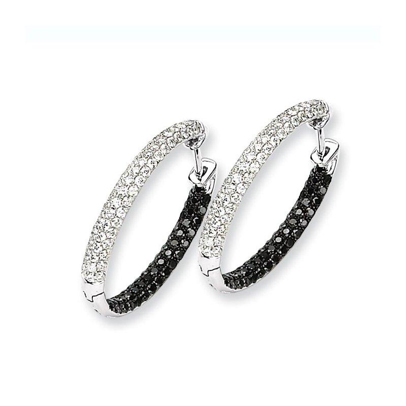 Susan Eisen 14k White Gold Black & White Diamond In-Out Hoop Earrings
