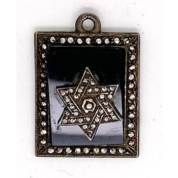 Vintage onyx, marcasite and sterling silver pendant