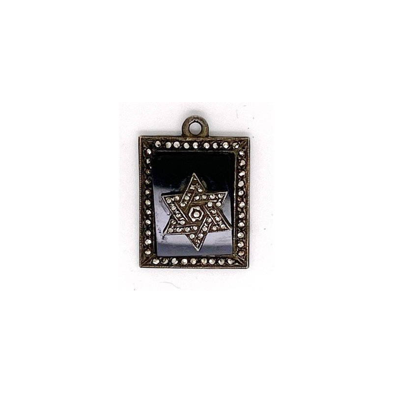 Estate & Vintage Vintage onyx, marcasite and sterling silver pendant