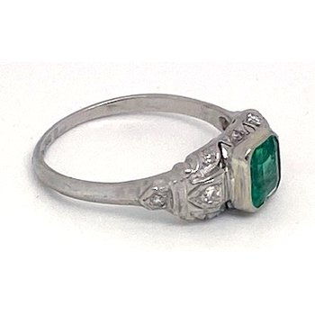 Lady's vintage emerald, diamond and platinum ring