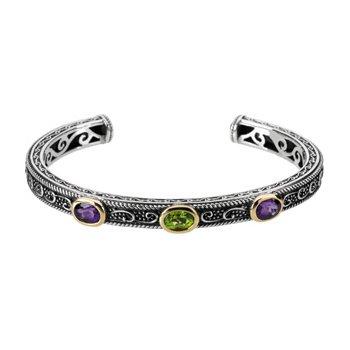 Genuine Multi Gem-stone Cuff Bracelet
