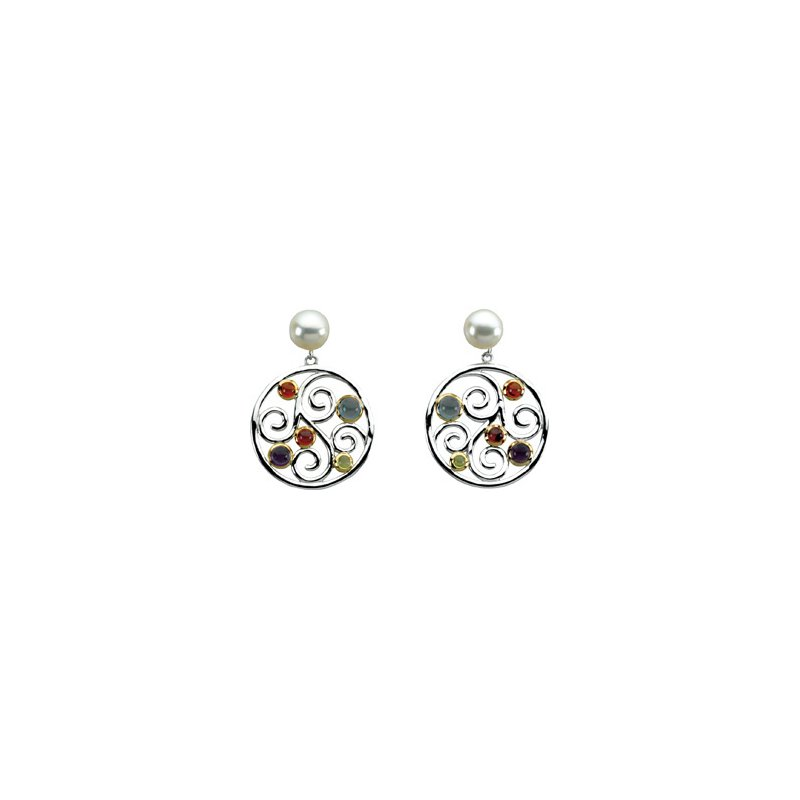 Ladies' Jewelry Freshwater Cultured Pearl & Multi-Gemstone Earrings