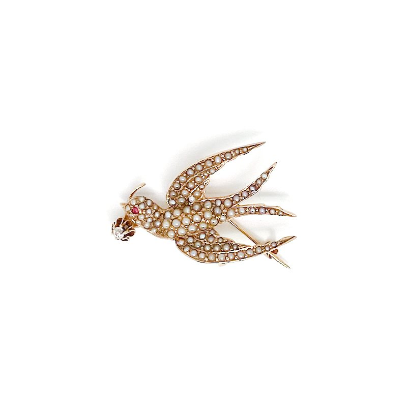 Estate & Vintage Lady's Art Nouveau style seed pearl, diamond, and ruby bird brooch