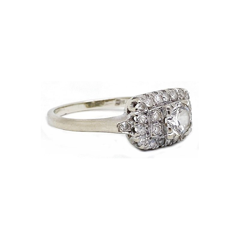 Vintage Bridal Diamond and gold, Art Deco style ring