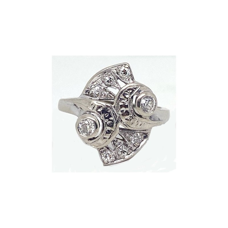 Vintage Bridal Diamond and White Gold, Retro Style Ring