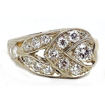 Two tone and Diamond , Retro Style Ring