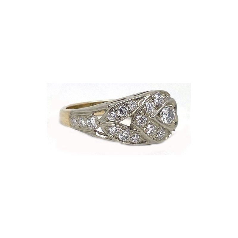 Vintage Bridal Two tone and Diamond , Retro Style Ring