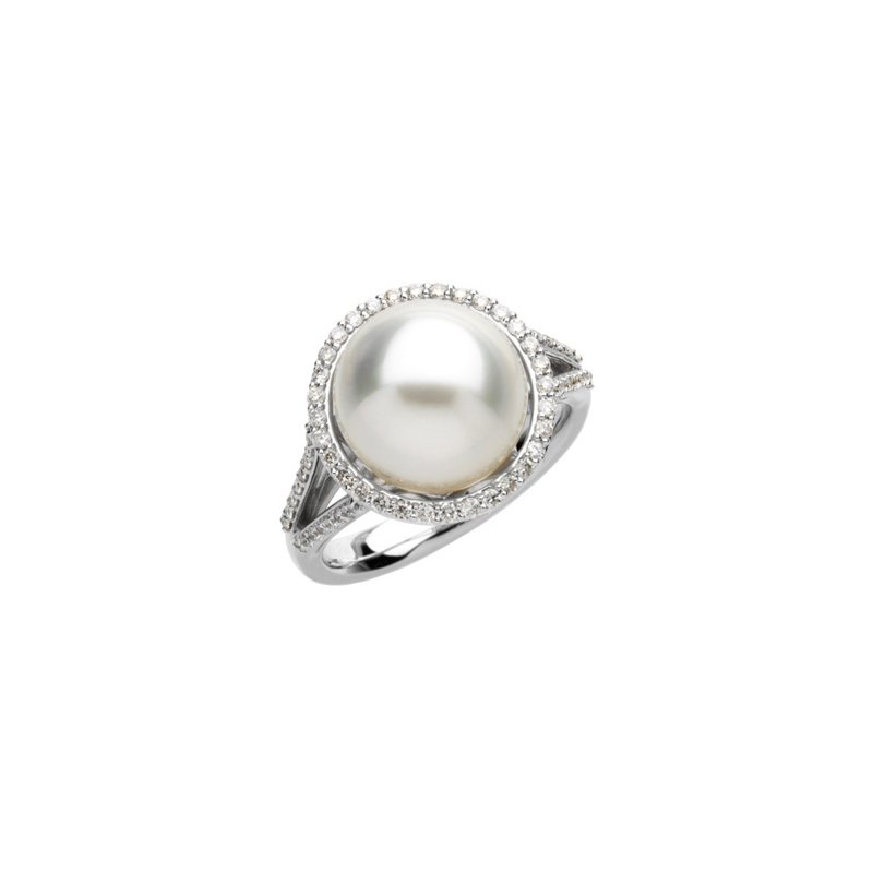 Ladies' Jewelry South Sea Cultured Pearl & Diamond Ring