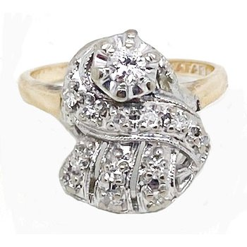 Diamond and Two-toned, Retro style, Ring