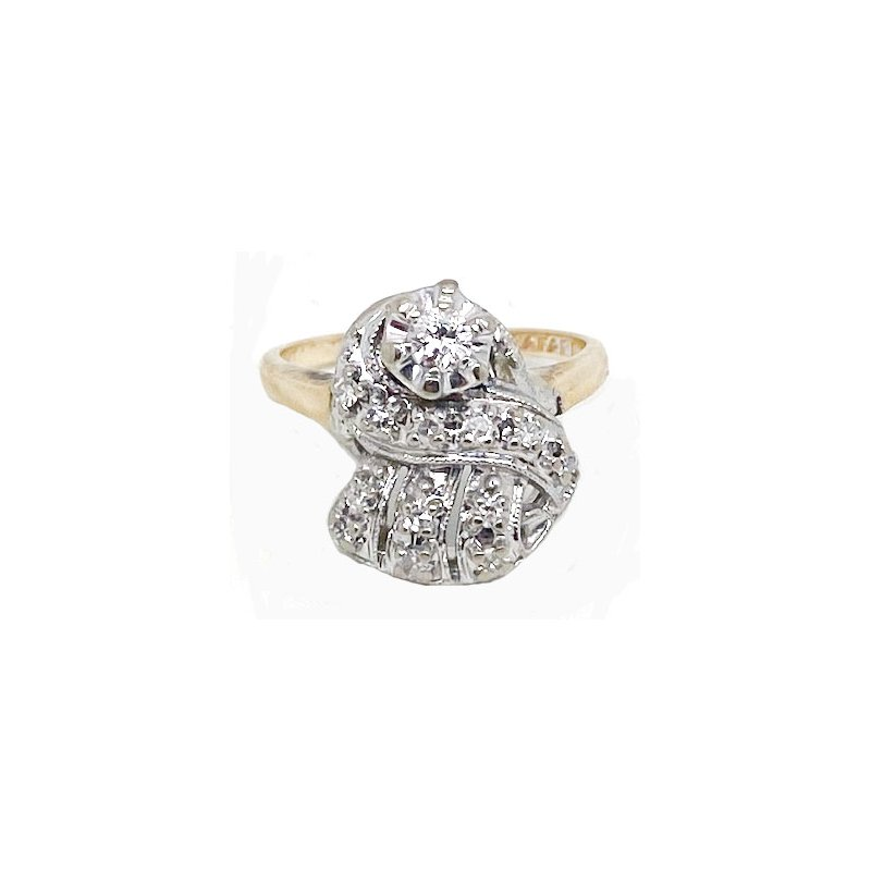 Vintage Bridal Diamond and Two-toned, Retro style, Ring