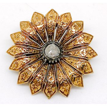 Lady's vintage, diamond and yellow gold, flower brooch