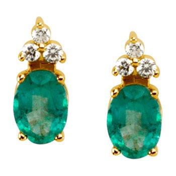 Genuine Emerald & Diamond Earrings