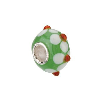 Kera Green with White/Orange Flower Glass Bead