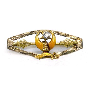Vintage yellow gold, diamond and enamel Masonic bar pin