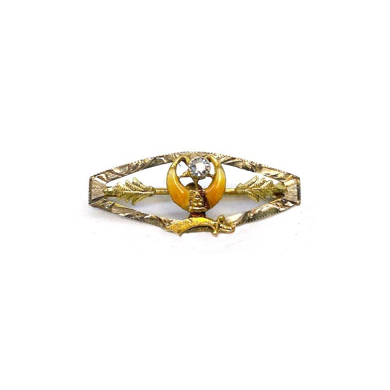 Estate & Vintage Vintage yellow gold, diamond and enamel Masonic bar pin