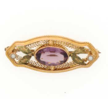 10K Filigree Art Nouveau Style Purple Stone Pin