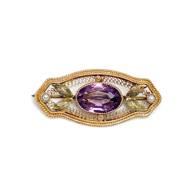 Estate & Vintage 10K Filigree Art Nouveau Style Purple Stone Pin