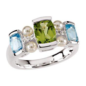 Freshwater Cultured Pearl, Swiss Blue Topaz, Peridot & Diamond Ring