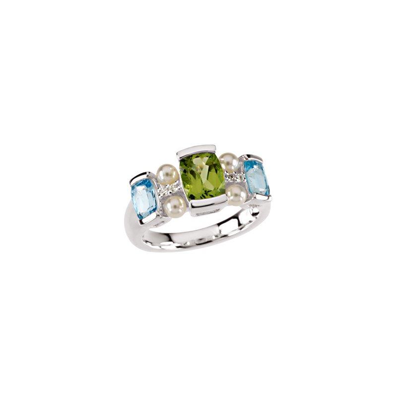 Ladies' Jewelry Freshwater Cultured Pearl, Swiss Blue Topaz, Peridot & Diamond Ring