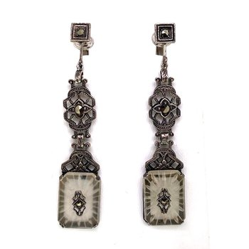 Lady's vintage crystal, marcasite and white gold, dangle, clip on earrings