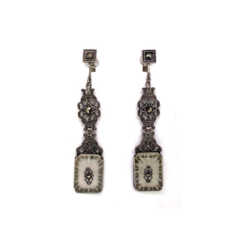 Estate & Vintage Lady's vintage crystal, marcasite and white gold, dangle, clip on earrings